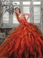 2015 Luxurious Ruffles and Beading Quincenera Dresses in Multi-color