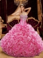 2015 Pink Sweetherat Beading and Ruffles Quinceanera Dress for Party