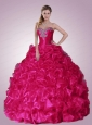 2015 Popular Beading and Ruffles Quinceanera Dresses in Hot Pink
