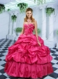 2015 Popular Hot Pink Quinceanera Gown with Beading