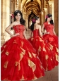 2015 Red Luxurious Appliques and Ruffles Dresses for Quinceanera