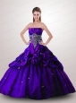 Brand New Style Appliques Quinceanera Dress in Purple For 2015