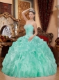 Elegant Sweetheart Neck Apple Green Balll Gown Beading Ruffles Quinceanera Dress