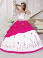 Embroidery Taffeta Sweet 16 Dress in White and Hot Pink