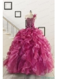 Exclusive Beading One Shoulder Sweet 16 Dresses in Fuchsia