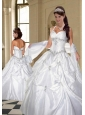 Halter Top White Taffeta Quinceanera Dress with Appliques and Beading