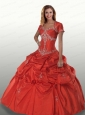 Modest Puffy Red Quinceanera Dresses with Beading and Pick-ups