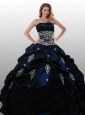 New Arrival Appliques Navy Blue 2015 Quinceanera Dress