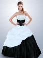 Popular Strapless Beading Quinceanera Dress in Black and White For 2015
