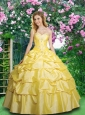 Popular Yellow Quinceanera Gown with Pick Ups and Appliques