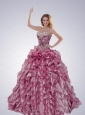 Pretty Strapless Beading and Ruffles Quinceanera Dress in Pink For 2014