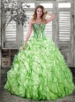 Sweetheart Beading and Ruffles Quinceanera Dresses in Spring Green