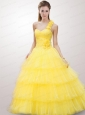 The Brand New Style Yellow Quinceanera Dresses with Beading and Ruffles For 2015