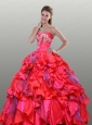 The Super Hot Red Quinceanera Dress with Beading and Ruffles For 2015