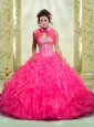 Beautiful Beading and Ruffles Quinceanera Dress in Hot Pink for 2014