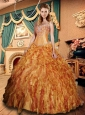 Sweetheart Gold Quinceanera Dresses with Ruffles and Beading