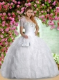 2015 Brand New Sweetheart White Sweet 15 Dresses with Appliques and Ruching
