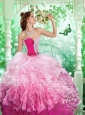 2015 Inexpensive Sweetheart Pink Beading and Ruffles Quince Dresses