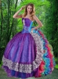 2015 Luxirious Sweetheart Multi-color Sweet Sixteen Dresses with Appliques and Ruffles