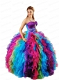 2015 Most Popular Strapless Multi-color Sweet Sixteen Dresses with Appliques and Ruffles