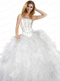 2015 New Arrival Strapless Appliques and Ruffles White Quincenera Dresses