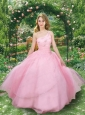 2015 Pretty Good One Shoulder Pink Quinceanera Gown with Appliques