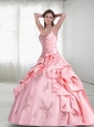 Baby Pink Spaghetti Straps Quinceanera Dress with Appliques