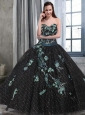 Black Sweetheart Appliques Quinceanera Dress with Special Fabric
