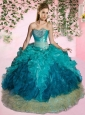 Cheap Sweetheart Turquoise Quinceanera Dresses with Appliques and Ruffles