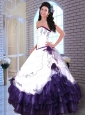 Embroidery White and Purple Organza Quinceanera Dress with Hand Made Flowers
