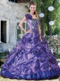 Latest A-line One Shoulder Appliques and Hand Made Flowers Quince Dress in Purple