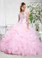 Popular Sweetheart Baby Pink Quinceanera Gowns with Pick-ups and Ruffles