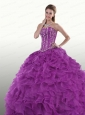 Purple Sweetheart Quinceanera Dress with Beading and Ruffles