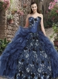 Sweetheart Navy Blue Quinceanera Dress with Beading and Ruffles