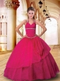The Super Hot Halter Top Hot Pink Quinceanera Gown with Beading and Ruching
