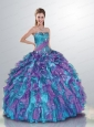 2015 Amazing Sweetheart Beading and Ruffles Quinceanera Dress in Blue and Purple