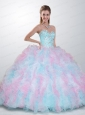 2015 Exclusive Sweetheart Multi-color Quinceanera Dresses with Beading and Ruffles