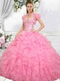 2015 Exquisite Ball Gown Rose Pink Quinceanera Dresses with Beading and Ruffles