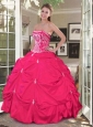 2015 Luxirious Hot Pink Quinceanera Dress with Embroidery and Pick-ups