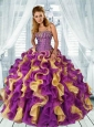 2015 New Arrival Sweetheart Ruffles and Appliques Multi-color Quinceanera Dresses