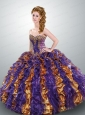 2015 Popular Strapless Muti-color Quinceanera Dresses with Ruffles