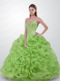 2015 Romantic Strapless Beaded and Ruffled Quinceanera Gown in Green