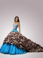 2015 Sweetheart Chapel Train Quinceanera Dresses with Beading and Pick-ups