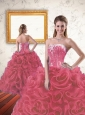 2015 Unique Beading and Ruffles Coral Red Dresses for Quince