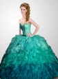 Brand New Turquoise Sweetheart Beading and Ruffles Quinceanera Dress