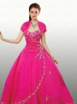 Classical Sweetheart Beaded Decorate Quinceanera Gown in Hot Pink