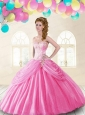 Discount Sweetheart Beading and Pick-ups Quinceanera Dresses in Rose Pink