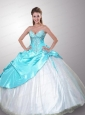 Elegant Sweetheart White and Blue Quincenera Dress with Appliques and Beading