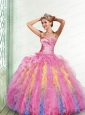 Fashionable Sweetheart Appliques and Ruffles Multi-color Dresses for Quinceanera