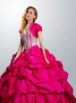 Fashionable Sweetheart Hot Pink Quinceanera Dress with Beading and Pick Ups